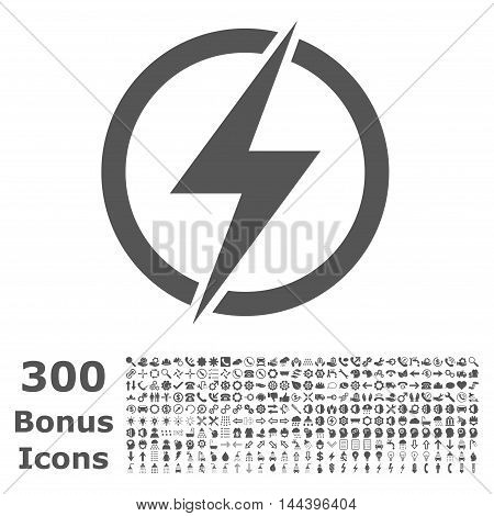 Electricity icon with 300 bonus icons. Vector illustration style is flat iconic symbols, gray color, white background.