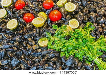 Fresh mussels for sale on a market in Palermo