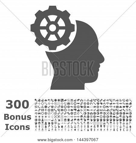 Head Gear icon with 300 bonus icons. Vector illustration style is flat iconic symbols, gray color, white background.