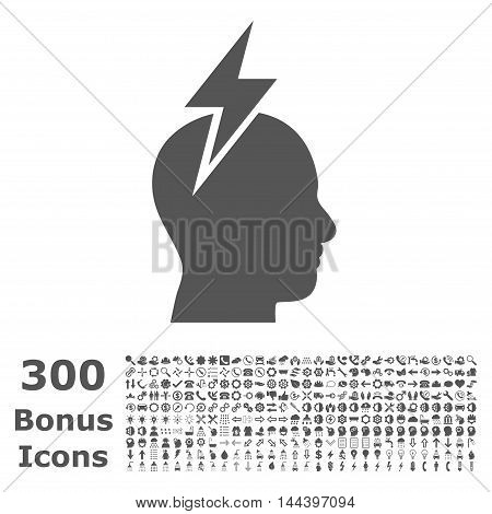 Headache icon with 300 bonus icons. Vector illustration style is flat iconic symbols, gray color, white background.