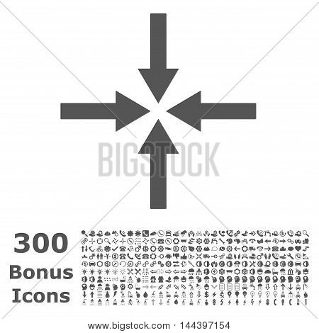 Impact Arrows icon with 300 bonus icons. Vector illustration style is flat iconic symbols, gray color, white background.