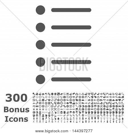Items icon with 300 bonus icons. Vector illustration style is flat iconic symbols, gray color, white background.