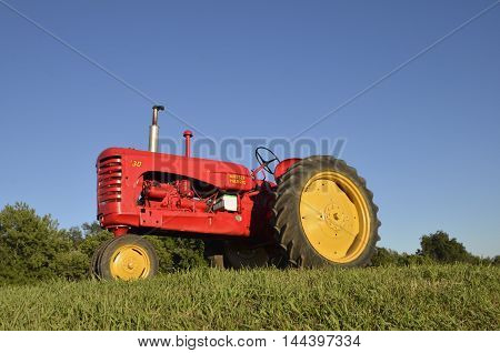 MADISON, SOUTH DAKOTA, August 20, 2016: The Massey Fergus tractor name disappeared when a merger of Massey Harris and the Ferguson Company farm machinery manufacturer occurred in 1953