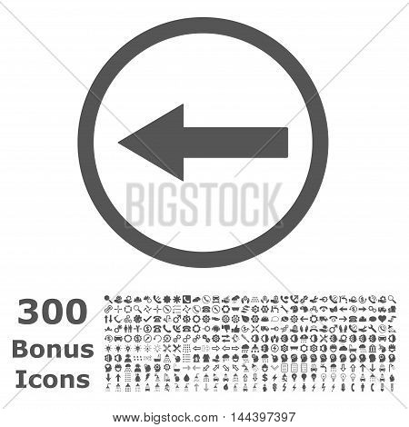 Left Rounded Arrow icon with 300 bonus icons. Vector illustration style is flat iconic symbols, gray color, white background.