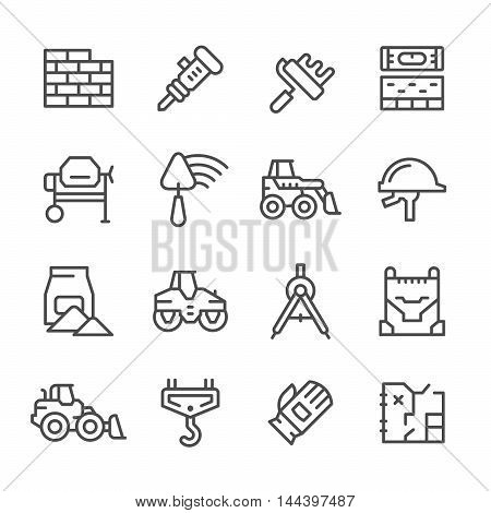 Set line icons of constructing industry isolated on white. Vector illustration
