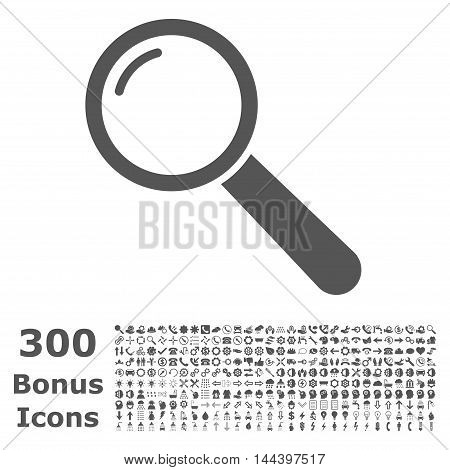 Magnifier icon with 300 bonus icons. Vector illustration style is flat iconic symbols, gray color, white background.