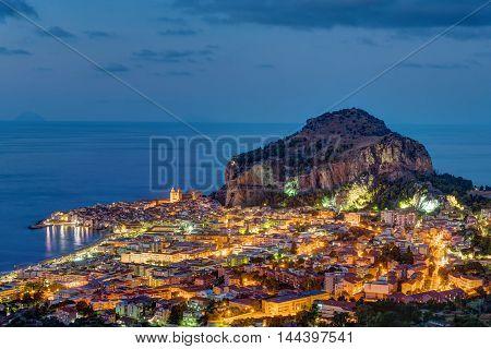 Cefalu at the north coast of Sicily at night