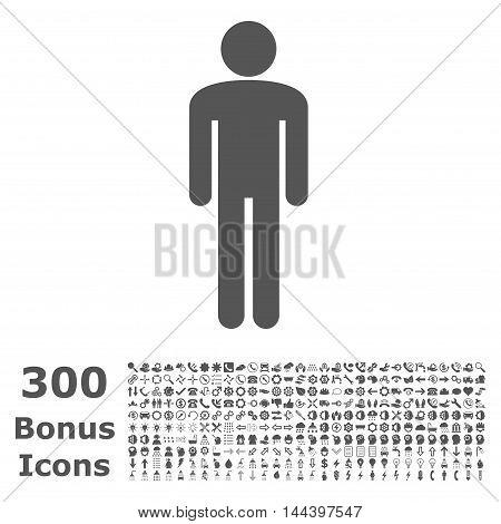 Man icon with 300 bonus icons. Vector illustration style is flat iconic symbols, gray color, white background.