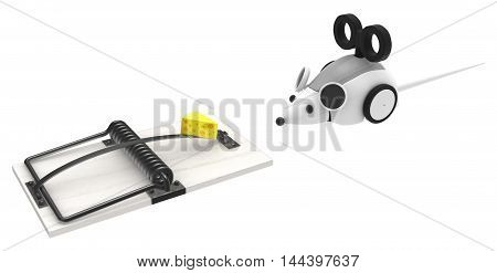Robot mouse with trap 3d illustration horizontal isolated