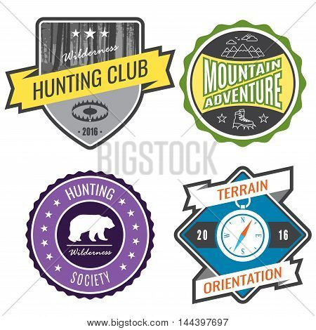 Set badges mountain expeditions and hunting emblem logo.