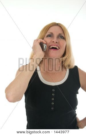 Woman On Cellphone Laughing