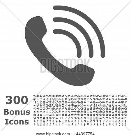 Phone Call icon with 300 bonus icons. Vector illustration style is flat iconic symbols, gray color, white background.