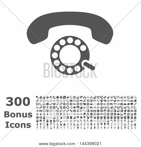 Pulse Dialing icon with 300 bonus icons. Vector illustration style is flat iconic symbols, gray color, white background.