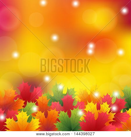 Autumn maple leaves background. vector illustration yellow
