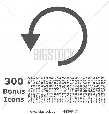 Rotate Ccw icon with 300 bonus icons. Vector illustration style is flat iconic symbols, gray color, white background.