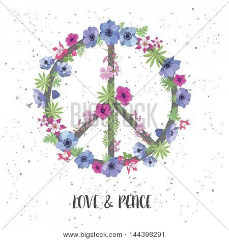 Peace Hippie Symbol with Flower on the white Background. Fashion Design for T-shirt.