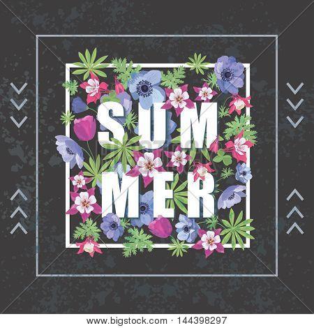 Vintage Floral Greeting Card. Fashion Print for T-shirt. Summer Floral Banner.