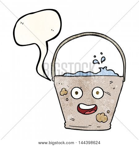 freehand speech bubble textured cartoon bucket