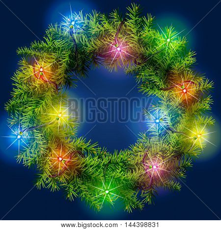 Christmas wreath with light garland. Decorated wreath of pine branches. Qualitative vector illustration for new years day, christmas, winter holiday, decoration, new years eve, design, silvester, etc