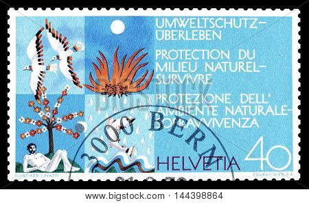 SWITZERLAND - CIRCA 1972 : Cancelled postage stamp printed by Switzerland, that shows that promotes environment.