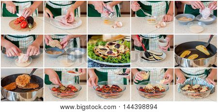 A Step by Step Collage of Making Chicken Parmigiana: Chicken Fillet Eggplant Tomato Basil