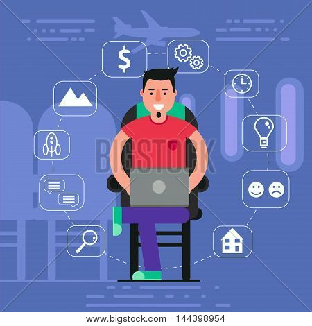 Young man sitting in chair on plane surfing inflight wi-fi concept. Vector illustration of staying online by using onboard internet access.