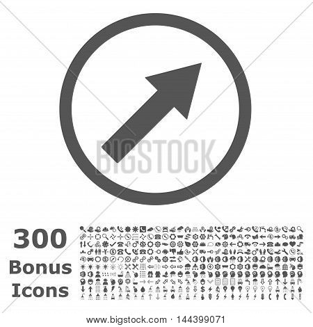 Up-Right Rounded Arrow icon with 300 bonus icons. Vector illustration style is flat iconic symbols, gray color, white background.