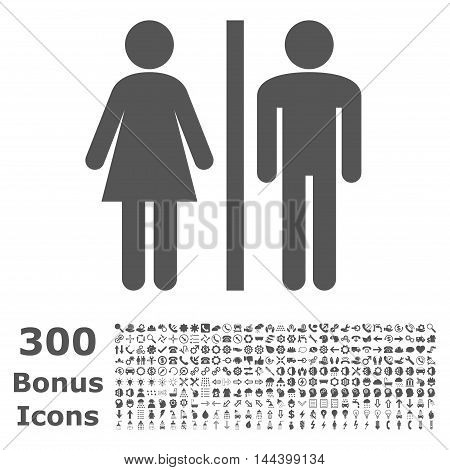 WC Persons icon with 300 bonus icons. Vector illustration style is flat iconic symbols, gray color, white background.