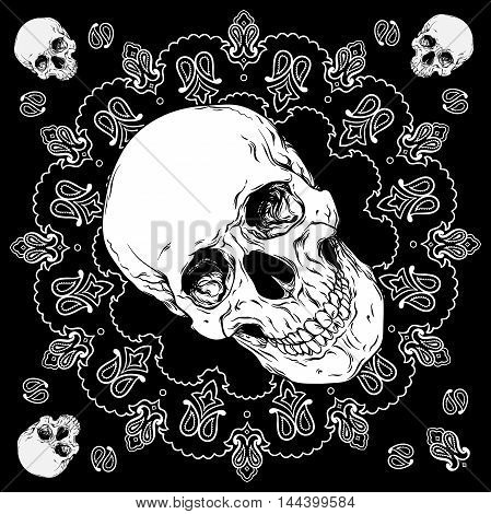Bandana Black And White Design With Skull And Paisley Ornament Vector