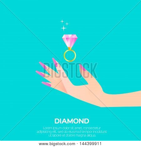 Big shining pink diamond in woman's hand. Wedding ring concept. Marriage proposal. Design vector illustration on blue background.