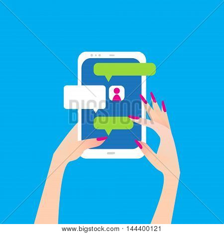 Women's hand holding smart phone with sign with chat bubbles. Finger touch screen for banner web site. Colorful Flat style vector illustration