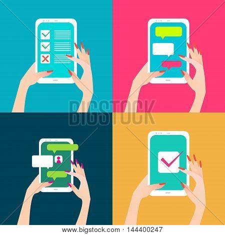 Women's hand holding smart phone with chat bubbles and checkmark on screen. Finger touch screen for banner web site. Colorful Flat style vector illustration