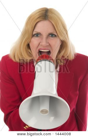 Business Woman Using Megaphone 3 Forward