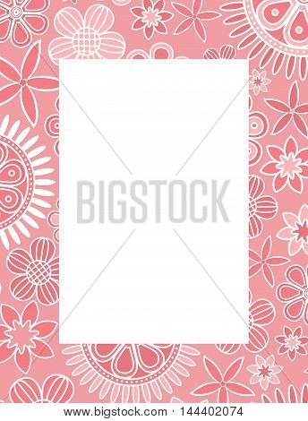 Pink floral decorative frame. Vector creative concept.