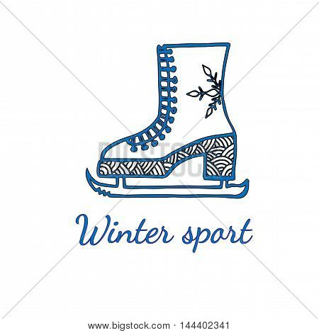 Skates with snowflake and text Winter sport isolated on the white background. Can be used for card invitation posters texture backgrounds placards banners.
