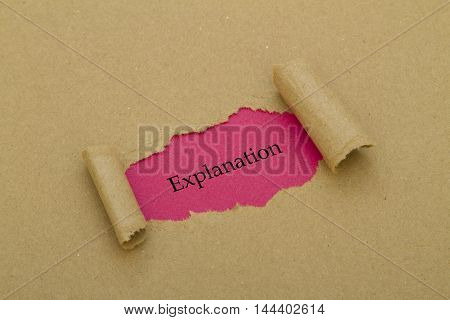 Explanation word written under torn paper .