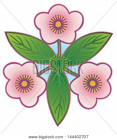 Emblem of three spring flowers with leaves