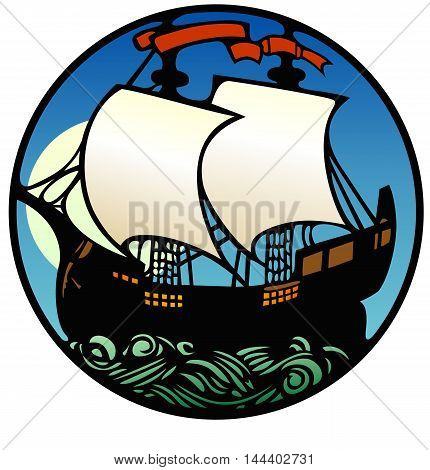sailing ship on a moonlit sea, art deco style