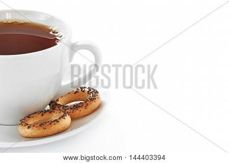 Cup Of Hot Tea And Cookies