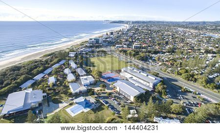 Aerial view of Tallebudgera beach, and surrounds. Gold Coast, Australia