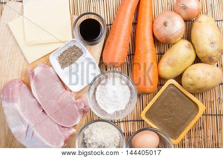 Japanese curry paste and ingredient / cooking Japanese curry concept