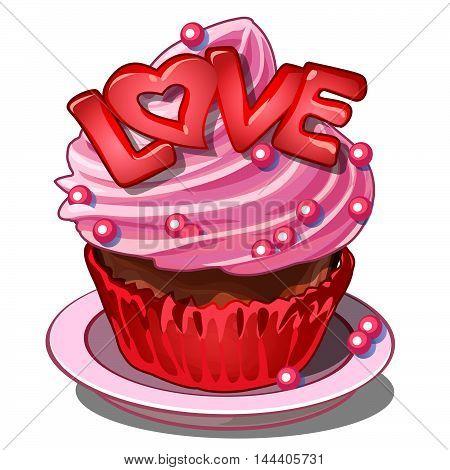 Festive pink dessert with cream. Vector illustration.