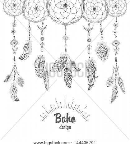 Background with Native American Indian Talisman Dream catcher and Feathers.  Ethnic Design, Boho Style.