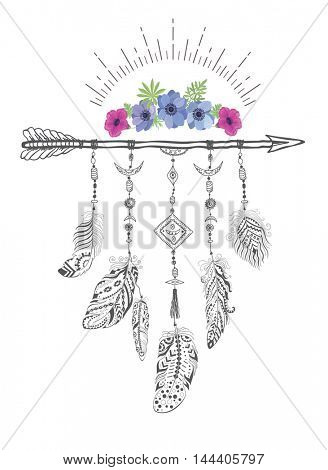 Boho Style with Ethnic Arrows and Feathers. American Indian Motifs for T-shirt and Card.  Ethnic Decoration with Flower.
