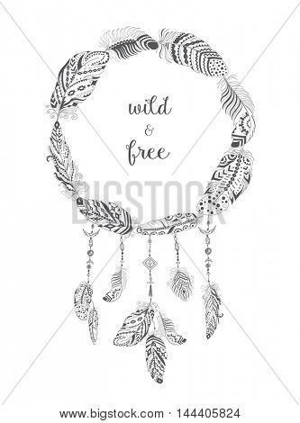 Boho Style Frame with Ethnic Arrows and Feathers. American Indian Motifs for T-shirt and Card .  Ethnic Decoration.