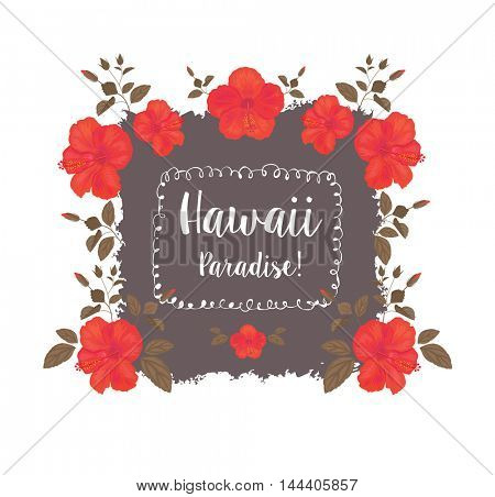 Abstract Background with Hibiscus . Tropical Floral Summer Design. T-shirt Fashion Graphic.