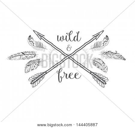 Boho Style with Ethnic Arrows and Feathers. American Indian Motifs for T-shirt and Card.  Ethnic Decoration.