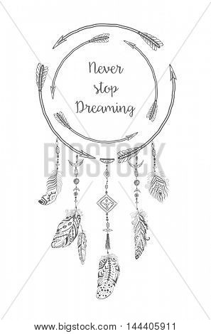 Boho Style with Ethnic Arrows and Feathers. American Indian Motifs for T-shirt and Card.  Ethnic Decoration. Dream catcher .