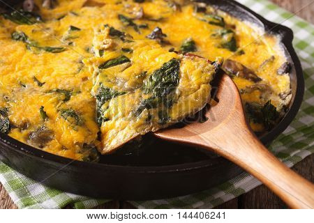 Omelet With Spinach, Cheese And Mushrooms In A Pan Close-up. Horizontal