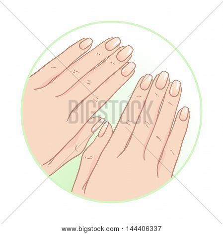 Beautiful Female Hands And Manicure. Body Care Icon Design Vector